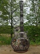 Steam Punk Guitar Metal Sculpture Chains Gears Nuts Bolts Harley Prts Reclaim
