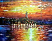 Leonid Afremov-lonely In The Sea-original Oil Painting/canvas/hand Signed/coa