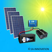 Complet 220v Installation Solaire + Piles 280ah 750w Panneau 2000w Camping Watt