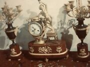1860 Napoleon Iii Gilt Bronze And Marble Clock And Two 5 Arm Matching Candle Holders