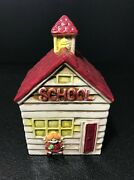 Glazed Ceramic School House Wind Up Musical Bank By Lego