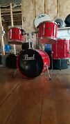 Pearl Export Series 4-pc Drums Laquered Red Rare Vintage