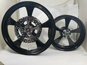 23x3.75 And 18x5.50 Harley Street Glide Black Rock Star Wheel Abs And Front Rotors
