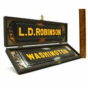 Vintage Tin Nameplates Metal Signs L.d Robinson And Washington In Old Wood Box