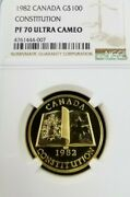 1982 Canada Gold 100 Constitution Ngc Pf 70 Ultra Cameo Perfection