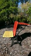 Antique Child's School Desk Painted Wood And Cast Iron, Seat Folds Up