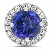 Estate Large 1.38ct Diamond And Aaa Tanzanite 14k White Gold 3d Halo Stud Earrings