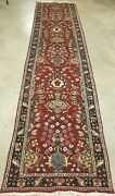 3and039x12and039 Hand-knotted Antique Cr 1940 Super Per. Tarbzi Vintage Wool Rug Runner