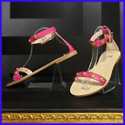 Sold Out New Versace Pink Leather Flat Sandals With Gold Medusa Studs 39 - 9