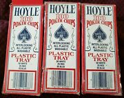 3 X Vintage Hoyle Poker Chips Lot New In Box Card Playing Games Gaming Nos