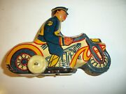 Marx Mystic Motorcycle Police Original Box Key 1940and039s Wind Up Toy