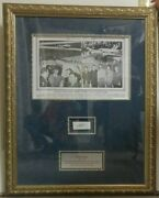 Howard Hughes Autograph With Original Newspaper Photo In Gold Frame
