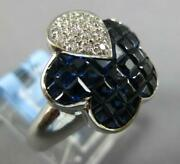 5.21ct Diamond And Aaa Sapphire 18k White Gold Invisible Butterfly Flower Fun Ring