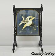 19th C. Antique Victorian Carved Fire Screen With Silk Embroidered Crane Panel