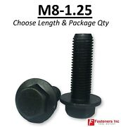 Choose Length And Qtyand039s M8-1.25 Grade 10.9 Metric Flange Bolts Black Phos And Oil