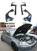 Mm Style Wide Body Fender Kit For 1999-00 Honda Civic 3dr 7pcs Frp Unpainted Usa