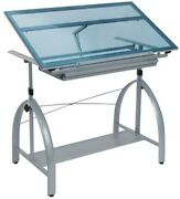 Drafting Table With Glass Top And Adjustable Height -used - Excellent Condition