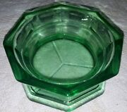 Vintage Heavy Duty Green Punch Bowl Base/stand Depression Cut Pressed Glass