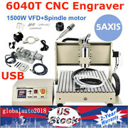 1500w 5axis 6040t Cnc Usb Router Engraver 3d Carving Mill Drill Machine W/rc Vfd