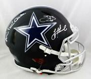 Irvin, Smith, Aikman Signed Cowboys F/s Flat Black Authentic Helmet-beckett Auth
