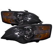 Headlights Halogen Set Black Performance Lens For 05-07 Subaru Legacy And Outback
