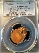 Lincoln Cent 1c Pcgs Ms 64 Rd Mint Error 3 Off Center Strikes Partial Brockage