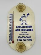 Vintage Sadler Drum And Container Advertising Outdoor Window Thermometer Perry, Fl