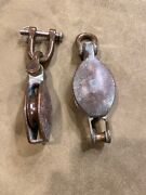 2 Vintage Brass/bronze Sailboat Pulley Antique Nautical Hardware Maritime Patina