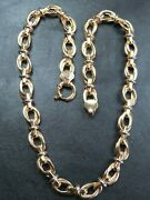 Vintage 9ct Gold Fancy Link Necklace Chain 16 1/2 Inch C.2000