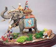Painted Tin Toy Soldier Raji Tiger Hunt On An Elephant 54mm 1/32