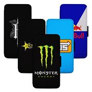 Energy Drinks Flip Phone Case Cover Wallet - Fits Samsung S7 S8 S9 S10 Note S20