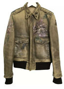 - Vintage Looking Leather Jacket With Floreal Motifs