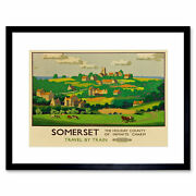 Travel Rail Train Somerset County Village Rural Uk Framed Wall Art Print