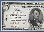 Ny 1929 5 Type-two ♚♚ Schenectady New York ♚♚ The Union Nb
