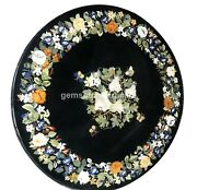 46x46 Black Marble Round Inlaid Dining Table Top Pietra Dure Christmas Present