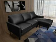Greatime Faux Leather Reversible Sofa And Chaise With Ottoman/pu Convertible Sofa