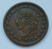 Hard Times Token Ht 46r / Low 31r 1837 / 1857 Filled Die Millions Defence