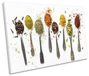 Spicy Spices Spoons Kitchen Picture Single Canvas Wall Art Print
