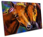 Two Horses Modern Picture Single Canvas Wall Art Print