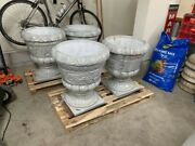 Two Matching Carved Marble Planters / Urns