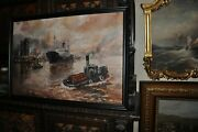 Harbor Painting Is Signed E. Foster Oil On Canvas