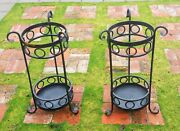 2 Umbrella Stand Vtg Bank Hotel Lobby Art Deco Wrought Iron Antique Plant Stand