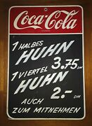 1960's Coca Cola Sign Original From Germany Fountain Luncheonette Advertising