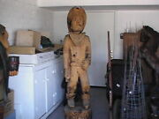 Vintage Large Cowboy Wood Chainsaw Carving 6ft