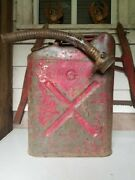 Vintage 1952 Resco Us Army Korean War Gas Water Jerry Can With Spout 20-5-52