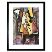 Painting Gris Guitar Stool Old Master Framed Picture Art Print 9x7 Inch