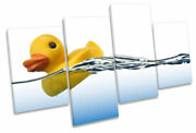 Rubber Duck Bathroom Water Print Multi Canvas Wall Art Picture