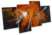 Kitchen Spices Spoons Orange Print Multi Canvas Wall Art Picture