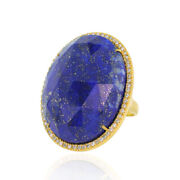 44.75ct Lapis And Pave Diamond Cocktail Ring 18k Yellow Gold Fine Jewelry