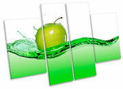 Kitchen Apple Juice Food Drink Lime Green Print Canvas Wall Art Four Panel